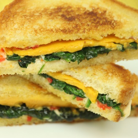 Cheddar Grilled Cheese with Pimento Mayonnaise and Spinach