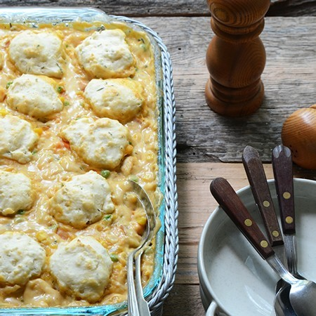 Cheesy Chicken Vegetable Cobbler {Lactose-Free}