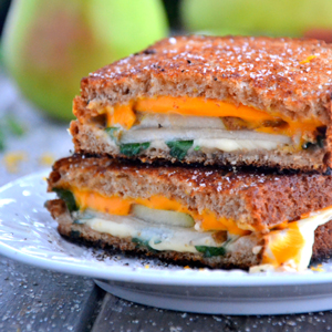 Grilled Cheese, Basil & Pear Sandwiches