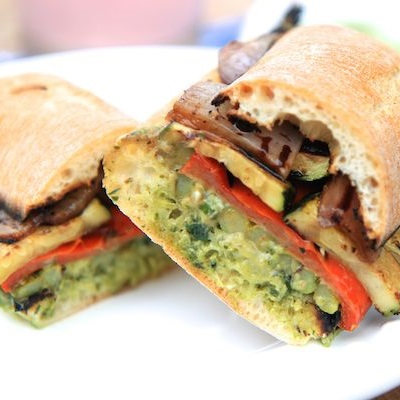 Grilled Veggie Sandwich with Chimichurri Cream Cheese Spread