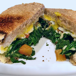 Kale and Roasted Pepper Eggy Sandwich
