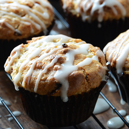 Oatmeal Golden Raisin Muffins with Cream Cheese Glaze