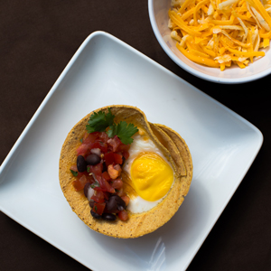 Open Face Tortilla Bakes with Eggs