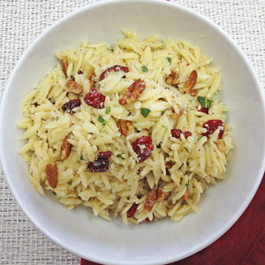 Parmesan Orzo Salad With Toasted Pecans & Cranberries