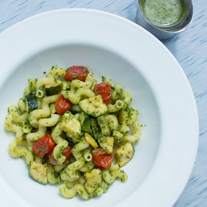 Pasta with Kale Pesto, Roasted Tomatoes, and Zucchini