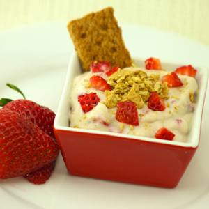 Strawberry Cream Cheese Mousse with Graham Cracker Crumbles