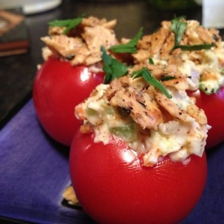 Stuffed Tomatoes with Gluten Free Cracker Topping