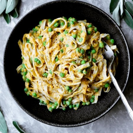 Creamy Roasted Butternut Squash Pasta with Peas