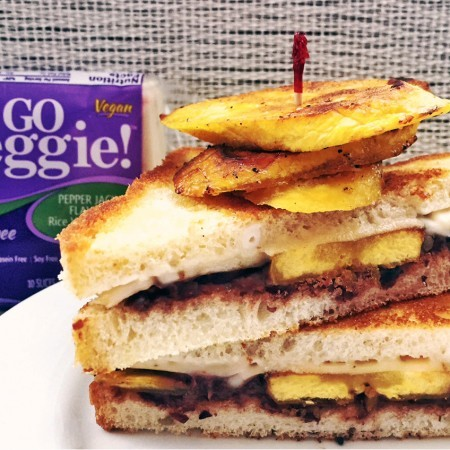 Cuban Style Pepper Jack Grilled Cheese with Grilled Plantains and Black Bean Spread