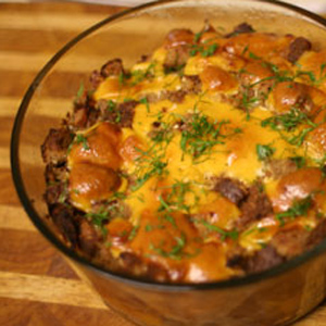Holiday Turkey Sausage Dressing with GO Veggie! Lactose Free Cheddar Block