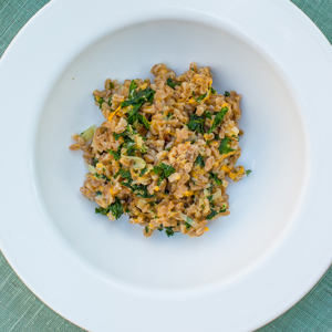 Cheesy Farro with Kale