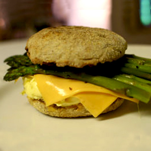 Breakfast Sandwich with GO Veggie! Lactose Free American Slices and Asparagus