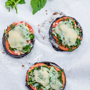 Grilled Portobello Pizzas with Kale and Mozzarella