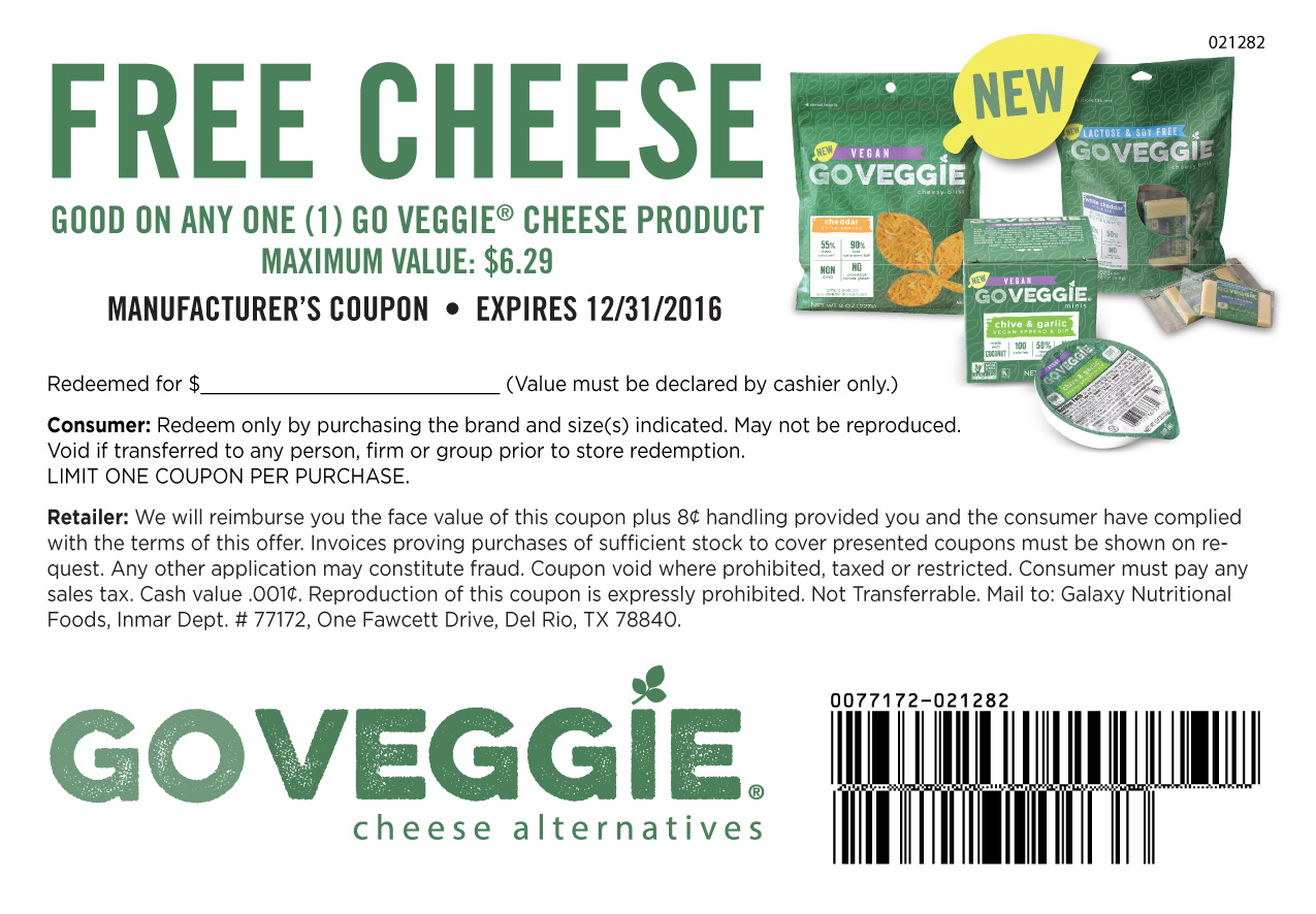 Coupons And Freebies: Free Go Veggie Cheese Product ...
